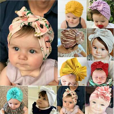 Toddler Newborn Baby Girls Turban Bow Knot Comfy Headwrap Beanie Bow Hats Cap