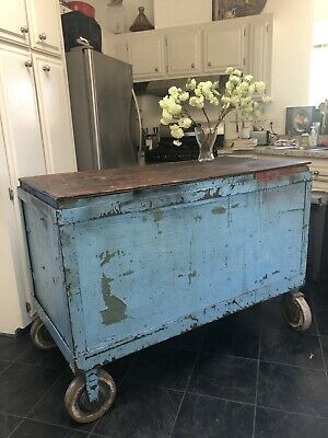 Rare! Painted Vintage Antique Kitchen Island Industrial French Bakers Table