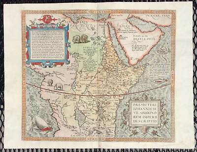 Original Abraham Ortelius Map of Africa: The Kingdom of Prester John