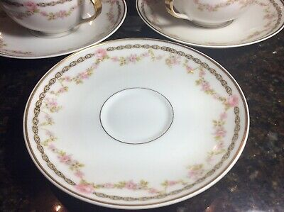 Antique Theodore Haviland Limoges France Pink Rose Cup and Saucer Set of 6 swag