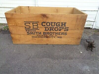 """Antique """"Wooden Smith Brothers Cough Drops"""" Shipping Crate """"Very Large"""" Good"""