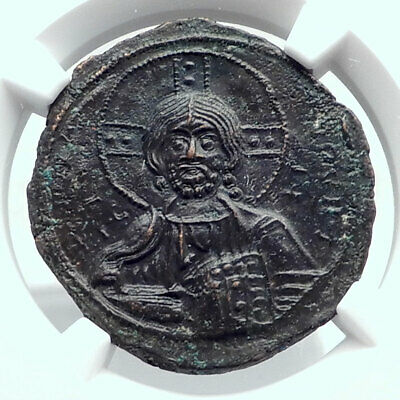 JESUS CHRIST Class A3 Anonymous Ancient 1020AD Byzantine Follis Coin NGC i80770