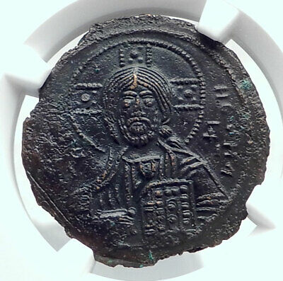 JESUS CHRIST Class A3 Anonymous Ancient 1020AD Byzantine Follis Coin NGC i80774