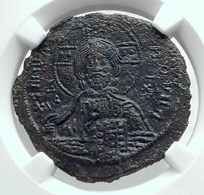 JESUS CHRIST Class A3 Anonymous Ancient 1020AD Byzantine Follis Coin NGC i80775