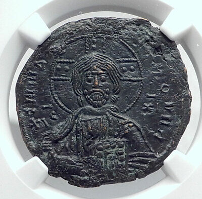 JESUS CHRIST Class A3 Anonymous Ancient 1020AD Byzantine Follis Coin NGC i80776