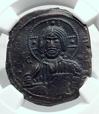 JESUS CHRIST Class A3 Anonymous Ancient 1020AD Byzantine Follis Coin NGC i80777