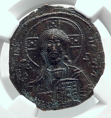 JESUS CHRIST Class A3 Anonymous Ancient 1020AD Byzantine Follis Coin NGC i80778