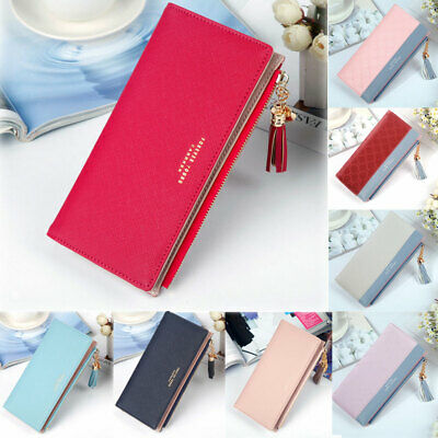 Women Long Leather Wallet Card Holder Zipper Phone Bag Coin Purse Clutch Handbag