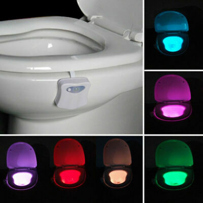 8 Colors Toilet Lamp Bowl Night LED Motion Activated Seat Sensor Sensor Bathroom