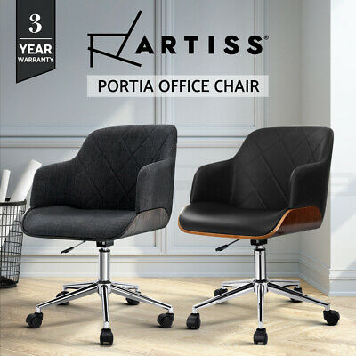 Artiss Wooden Office Chair Computer Gaming Chairs Fabric Chair Grey Green