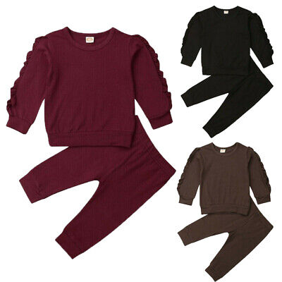 UK Newborn Toddler Infant Kid Baby Girl Clothes Ruffle Top Long Pants Outfit Set