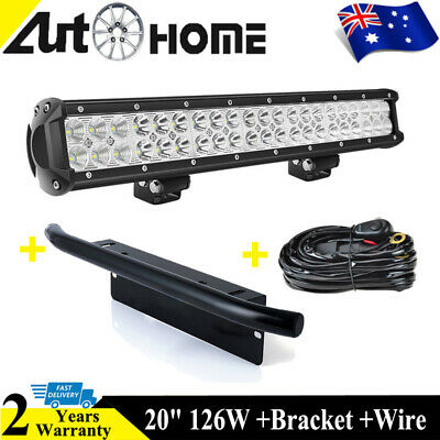 Cree LED Work Light Bar 20 Inch 126W+ 23'' Number Plate + Wiring Harness Kit DT