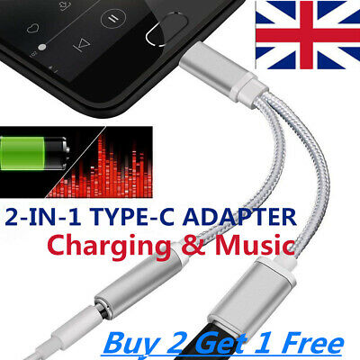 3-IN-1 USB-C Type C To 3.5mm Audio Aux Headphone Jack Cable Adapter UK