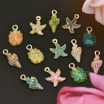 13 Pcs Mixed Starfish Conch Shell Metal Charms Pendants DIY For Jewelry Making