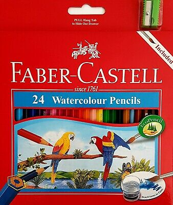 Faber Castell 24 Set Watercolour Pencils with Brush and Sharpener Pack NEW
