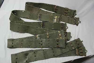 US Military Issue Vietnam Era Canvas Web Pistol Belt With Brass Buckle Used