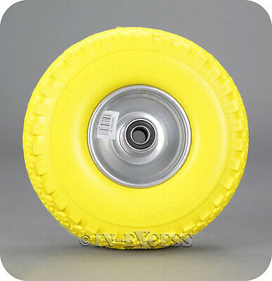 Solid Puncture Proof Replacement PU Sack Truck Trolley Wheel - Yellow 260mm