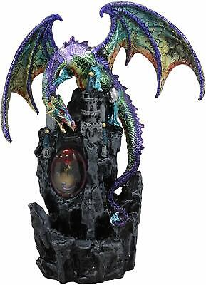 Large Rainbow Dragon On Castle Statue With Wyrmling In Egg LED Light Glass Ball