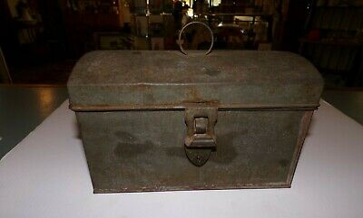 Antique Toleware Tin Metal Document Box Dome Lid Sweetheart lock