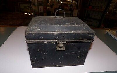 Antique Toleware Tin Coffin Stle Top Document Box