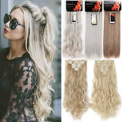 Seamless Clip In Hair feels like Real Human Hair Extensions Full Head 8 Piece UK