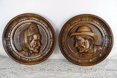 Antique French Hand Carved Walnut Wood Pair Plaque Face Brittany Figure -signed