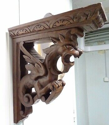 "17""Antique French Large Pair Wall Wooden Bracket Hand Carved Chimera-Gothic 19th"