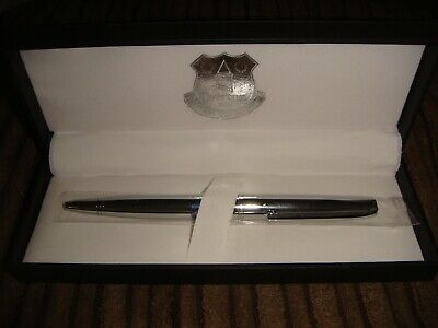 Everton FC Chrome Ball Point Pen Exectutive Pen In Case Gift Set NEW Official