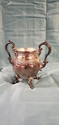 """Silver On Copper """"B. S. Co"""" Antique  sugar bowl Size Tall 6.5"""" Wide  7"""""""