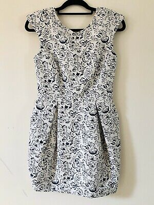 River Island White Blue Floral Pattern Cotton Formal Balloon Dress Size 10 A1107