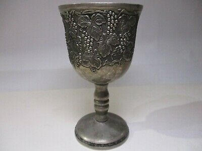 Antique Silver Plated Spanish Wine Goblet Solid Cup 19Th Century