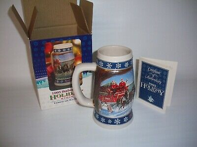 Budweiser Holiday Stein 1995 Brand New with Box and Certificate of Authenticity
