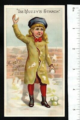 Girl In Snow Muzzy's Corn Starch 1880'S Victorian Advertising Trade Card