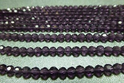 4mm amethyst faceted glass beads New Old Stock BIN076 10 st 50//st purple