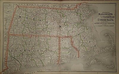 Vintage 1887 MASSACHUSETTS CONNECTICUT RHODE ISLAND Map Antique Original 071017