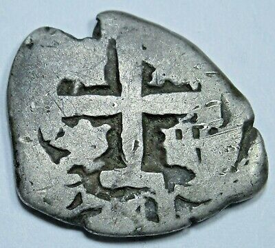 1741 Spanish Silver 1 Reales Cob Piece of 8 Real Colonial Pirate Treasure Coin