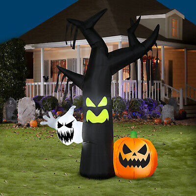 Halloween Yard Inflatable Ghostly Tree Scene 7ft Outdoor Decor Light Up Airblown