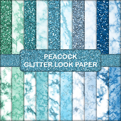 PEACOCK GLITTER LOOK SCRAPBOOK PAPER - 20 x A5 Pages