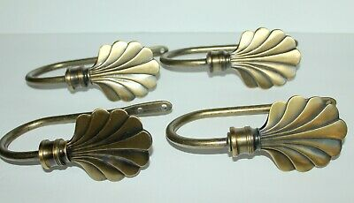 Vintage Ornate Brass Curtain Drape Hooks Tie Backs Set of 4 BEAUTIFUL HEAVY