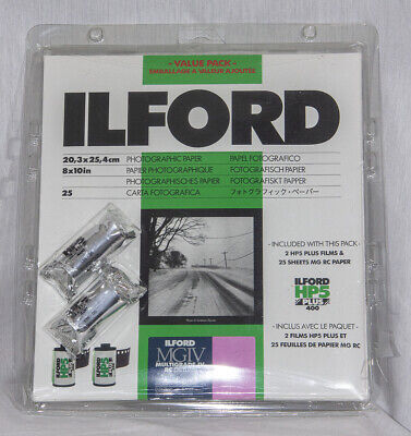 Ilford Value Pack- 8x10 Multigrade IV RC Deluxe Glossy 25 Sht + 2 Rolls HP5 NEW