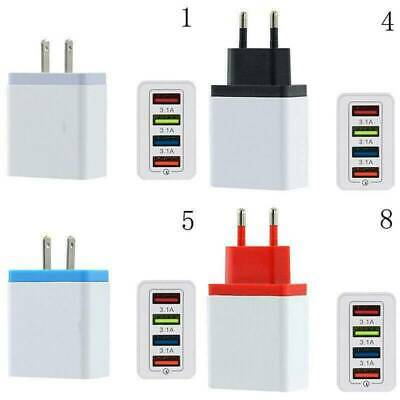 4 Ports USB Fast wall Charger Adapter (5V 3.1A 110V-240V) for Android iPhone