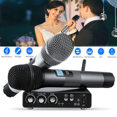 Pro Wireless Microphone System UHF 25 Channel 2 Cordless Handheld Dynamic Mic