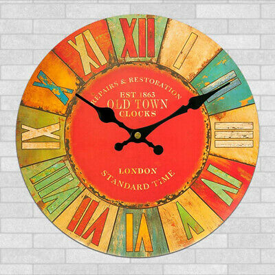 Rustic Wooden Large 11.8inch Clock Vintage Retro Wall London Old Town Decor