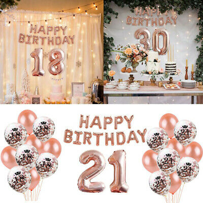 18/21st/30/40/50/60th Rose Gold Foil Number Balloons Happy Birthday Party Decor
