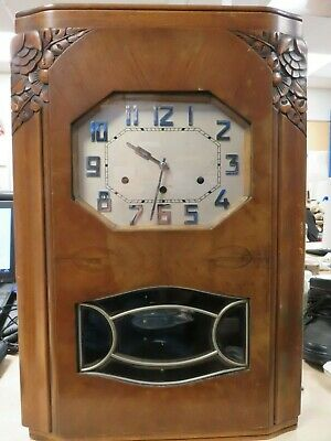 Carillon Westminster Antique Wall Clock 59' Tall Tested Working With Key