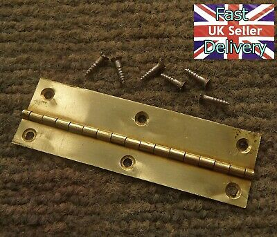 Vintage Smiths Brass Hinge & Original Screws. Mantle Clock Door. Good Condition