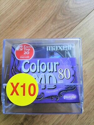 10x Mini Disc Maxell Colour MD 80. Brand New In Packaging Unused. Free Postage