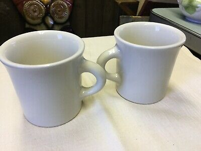 2 Vintage Homer Laughlin Coffee Cup Thick Heavy Mugs WHITE Diner Restaurant Ware