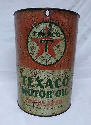 Vintage 1940's TEXACO Motor Oil Insulated 5 Quart Oil Can Tin Gas Station sign