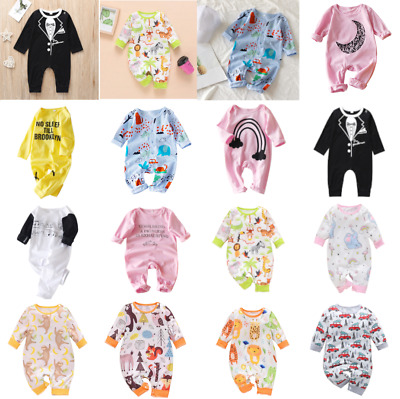 Newborn Infant Kids Baby Boys Girls Long Sleeve Jumpsuit Playsuit Romper Set Lot